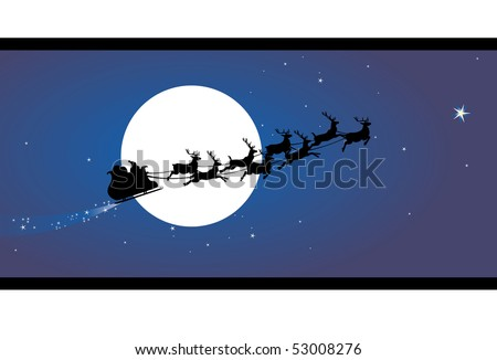 Santa claus sleigh in the sky - stock vector