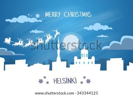 Santa Claus Sleigh Reindeer Fly Finland Sky over Helsinki City Silhouette Night Cityscape Snow Skyline Christmas New Year Card Vector Illustration - stock vector