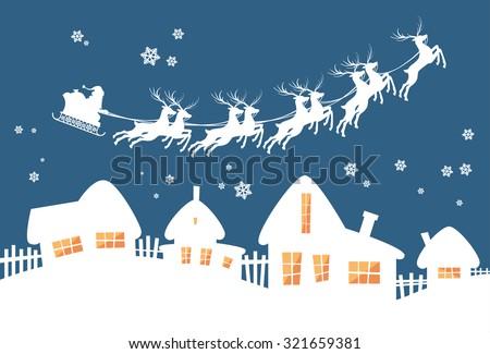 Santa Claus Sleigh Reindeer Fly Sky over House Christmas New Year Card Vector Illustration - stock vector
