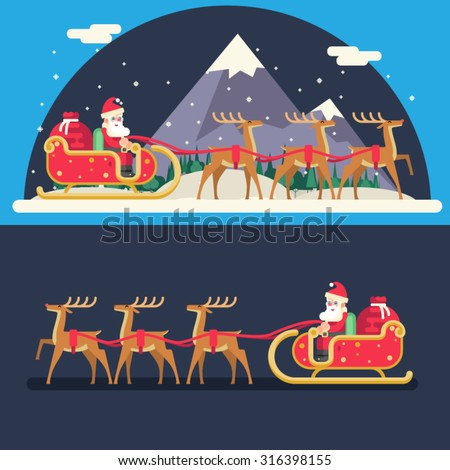 Santa Claus Sleigh Reindeer Gifts Winter Snow Landscape New Year Christmas Night Background Flat Design Icon Template Vector Illustration - stock vector