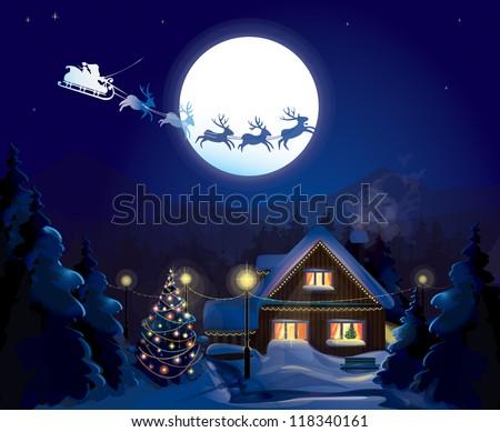 Santa Claus Sleigh, vector - stock vector