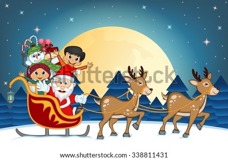Santa Claus, Snowman and Kids Moving On The Sledge With Reindeer And Brings Many Gifts, Christmas Tree and Full Moon At Night For Your Design Vector Illustration - stock vector