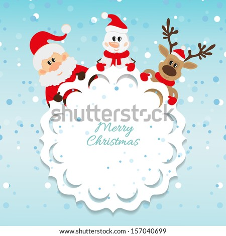 Santa Claus, snowman and reindeer blue background for Christmas - stock vector