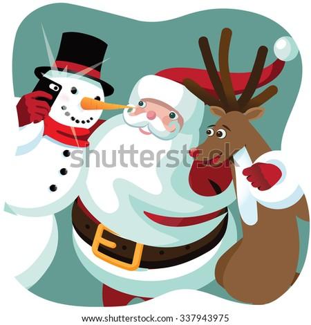 Santa Claus, snowman and Reindeer take a Christmas selfie together. EPS 10 Vector cartoon .  - stock vector