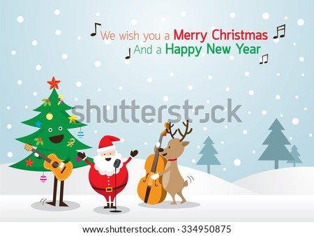 Santa Claus, Snowman, Reindeer, Playing Music Background, Characters, Merry Christmas and Happy New year - stock vector