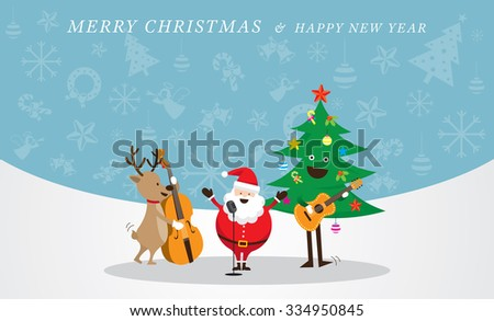 Santa Claus, Snowman, Reindeer, Playing Music Icons Background, Characters, Merry Christmas and Happy New year - stock vector