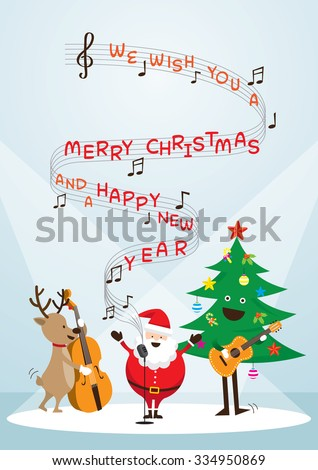 Santa Claus, Snowman, Reindeer, Playing Music, Sing a Song, Characters, Merry Christmas and Happy New year - stock vector