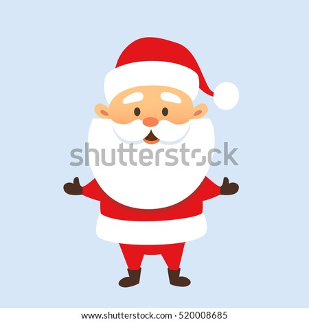 Santa Claus stand and smile. Cartoon Christmas holiday character. Cute Father Frost vector illustration.