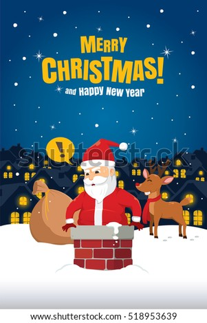 Santa Claus Stuck In The Chimney On Snow Roof. Christmas Cartoon Vector Illustration.