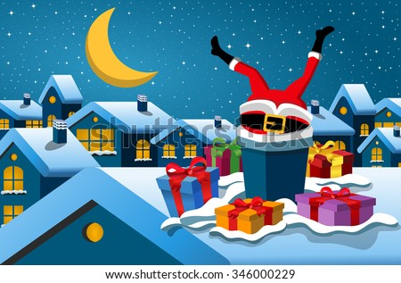 Santa Claus stuck in the chimney upside down at christmas night - stock vector