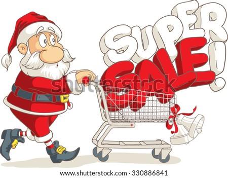 Santa Claus Super Sale Vector Cartoon - Vector of Santa shopping for Christmas on super sale season   - stock vector