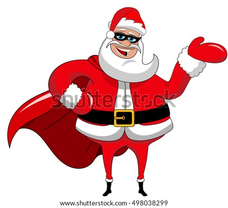 Santa Claus superhero presenting or showing isolated