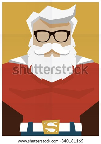 Santa Claus superhero retro poster illustration - stock vector