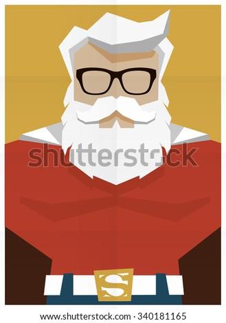 Santa Claus superhero retro poster illustration - stock vector