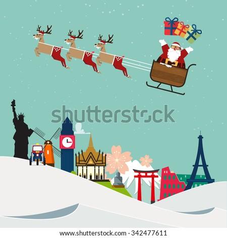 Santa Claus travel around famous world landmark. Vector Illustration - stock vector