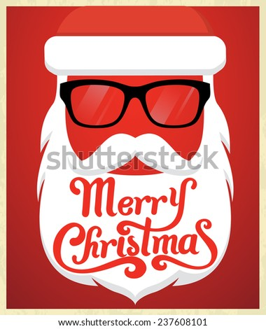 Santa Claus Typography background - stock vector