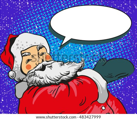 Santa claus vector illustration in comic pop art style. Merry Christmas holiday concept poster and greetings card.
