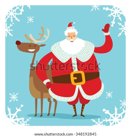 Santa Claus vector illustration. Santa Claus cartoon old man with red hat and deer. Santa Claus traditional costume. Santa Claus isolated on background. Santa Claus deer, smile face. Christmas Santa - stock vector