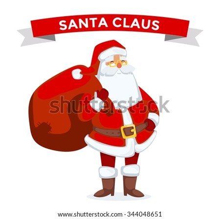 Santa Claus vector illustration. Santa Claus cartoot old man with red hat and sack. Santa Claus traditional costume. Santa Claus isolated on background. Santa Claus stay, smile face. Christmas Santa - stock vector