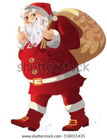 santa claus walking, with bag at back