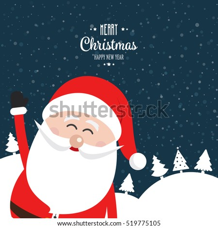 santa claus wave happy snow winter night landscape