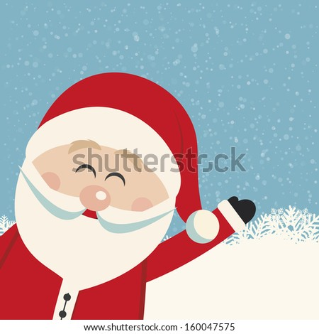 santa claus wave snowy background - stock vector