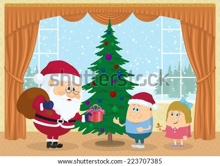 Santa Claus with a bag giving gift box to boy and girl near fir tree in room with view on snowy forest, Christmas holiday illustration, funny cartoon characters. Eps10, contains transparencies. Vector - stock vector
