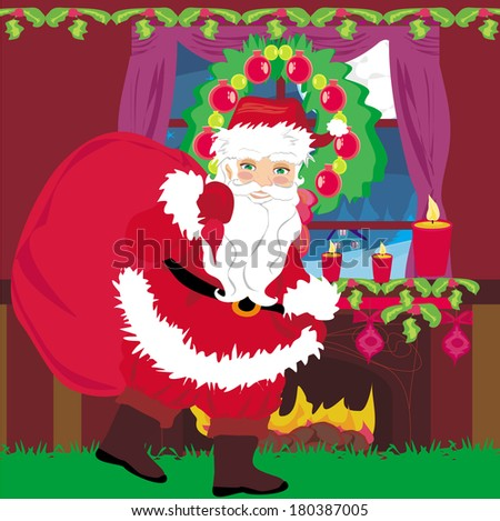 santa claus with a bag of gifts  - stock vector