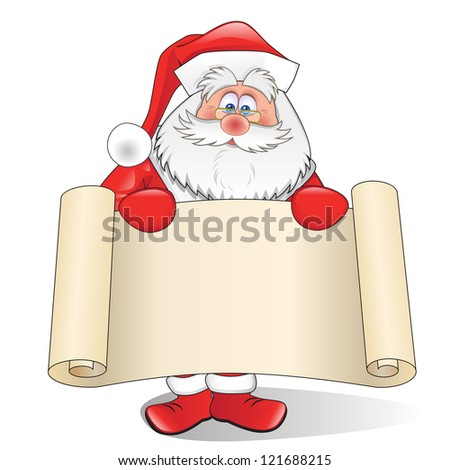 Santa Claus with a scroll isolated on a white background