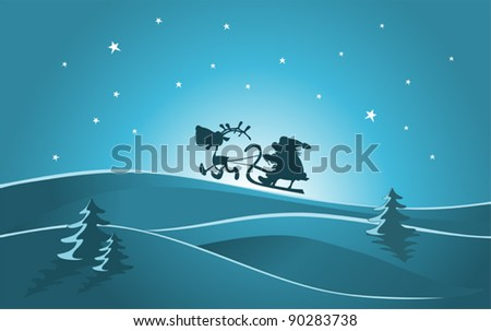 Santa Claus with a sleigh, Illustration - stock vector