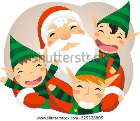 Santa claus with baby elves vector cartoon illustration - stock vector
