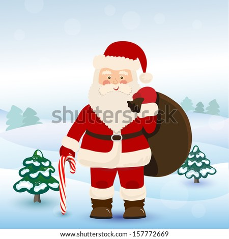 Santa Claus with bag of toys for children, vector - stock vector