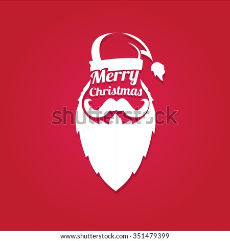Santa claus with beard vector illustration .Christmas hipster poster for party or greeting card. Santa Hipster Claus. vector merry christmas art design background. - stock vector