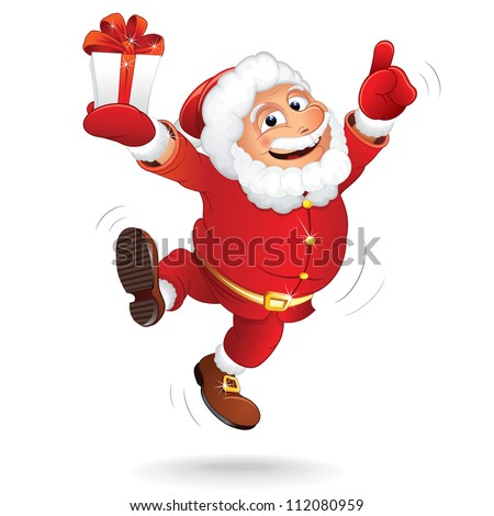 Santa Claus with Christmas Gift - stock vector
