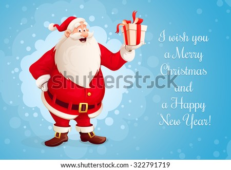 Santa Claus with Christmas gift in the hand. vector illustration. Transparent objects used for lights and shadows drawing. - stock vector