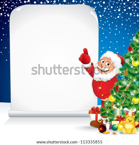 Santa Claus with Christmas Gifts and Wishing List - stock vector