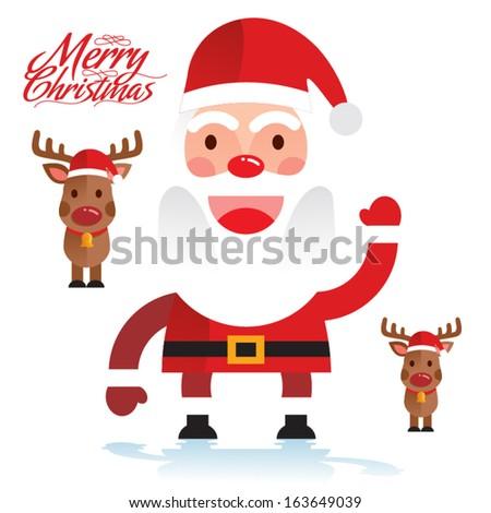 Santa Claus with Deers - stock vector