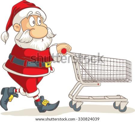 Santa Claus with Empty Shopping Cart Vector Cartoon - Vector of Santa running and shopping for Christmas  - stock vector