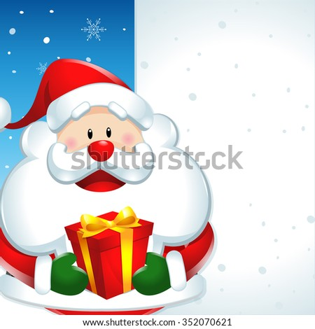 Santa claus with gift, and big sign in christmas snow scene