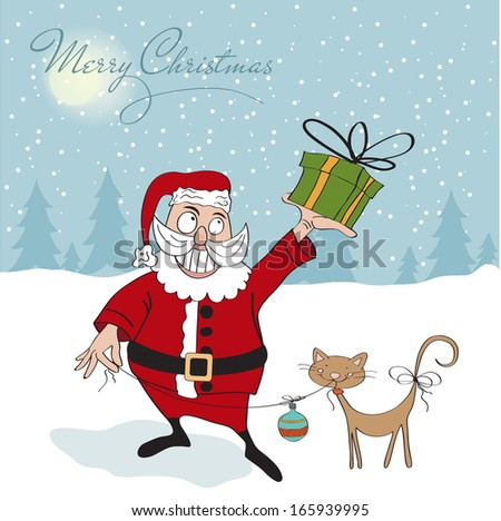 Santa Claus with gift, comic illustration  in vector format - stock vector