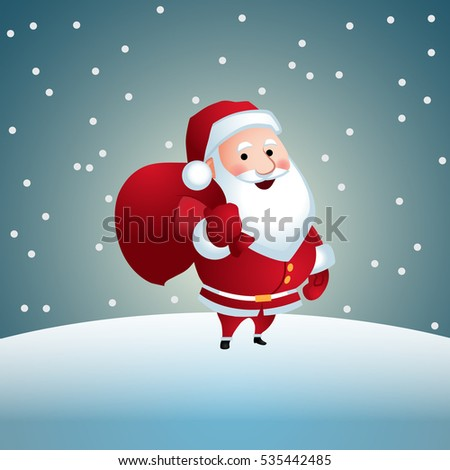 Santa Claus with gifts. Vector illustration