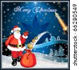 Santa Claus with gifts, vector illustration card - stock photo