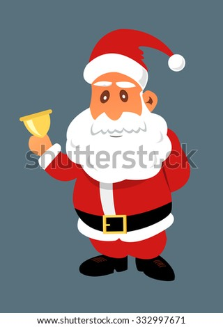 Santa Claus with golden bell. Christmas vector flat illustration