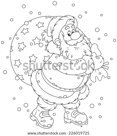 Santa Claus with his bag of Christmas gifts - stock vector