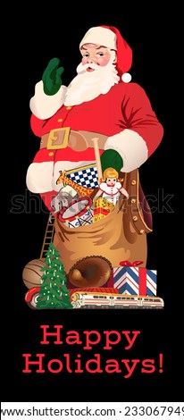 Santa Claus with his bag of toys and games - stock vector