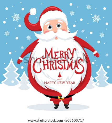 Santa claus merry christmas lettering holiday stock vector royalty santa claus with merry christmas lettering for holiday invitation and greeting card vector illustration m4hsunfo