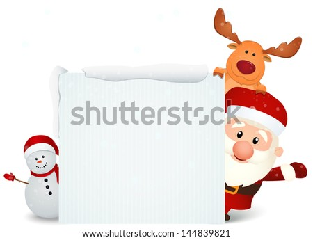 santa claus with reindeer and snowman in winter landscape - stock vector
