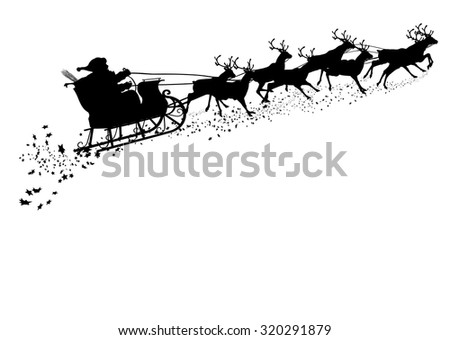 Santa Claus with Reindeer Sleigh - Black Silhouette - Outline Shape of Sledge, Sled - Holiday Season Symbol - Christmas, XMas, X-Mas. Greeting Card Template. - stock vector