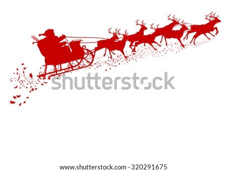 Santa Claus with Reindeer Sleigh - Red Silhouette - Outline Shape of Sledge, Sled - Holiday Season Symbol - Christmas, XMas, X-Mas. Greeting Card Template. - stock vector