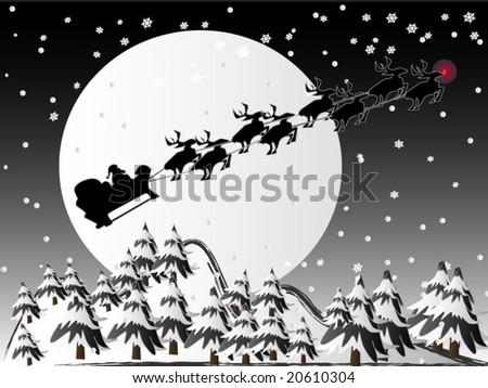 Santa Claus with rudolph - stock vector